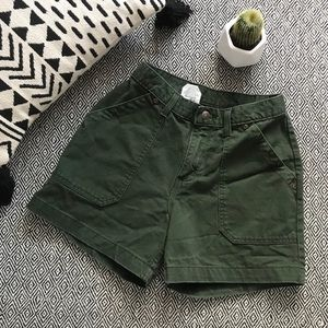 Vintage High Rise Army Green Shorts